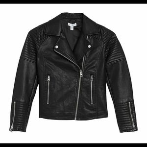 TopShop Rosa Faux Leather Biker Jacket in US 8